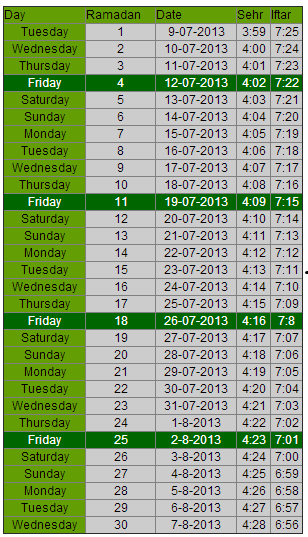 Ramadan Timings 2013